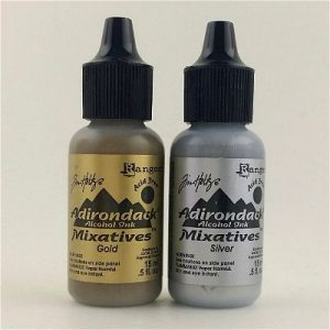 Gold/Silver Mixative Set of Adirondack alcohols Inks by Ranger/Tim Holtz