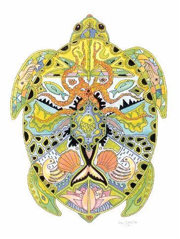 Sea Turtle Rubber Stamp by Sue Coccia