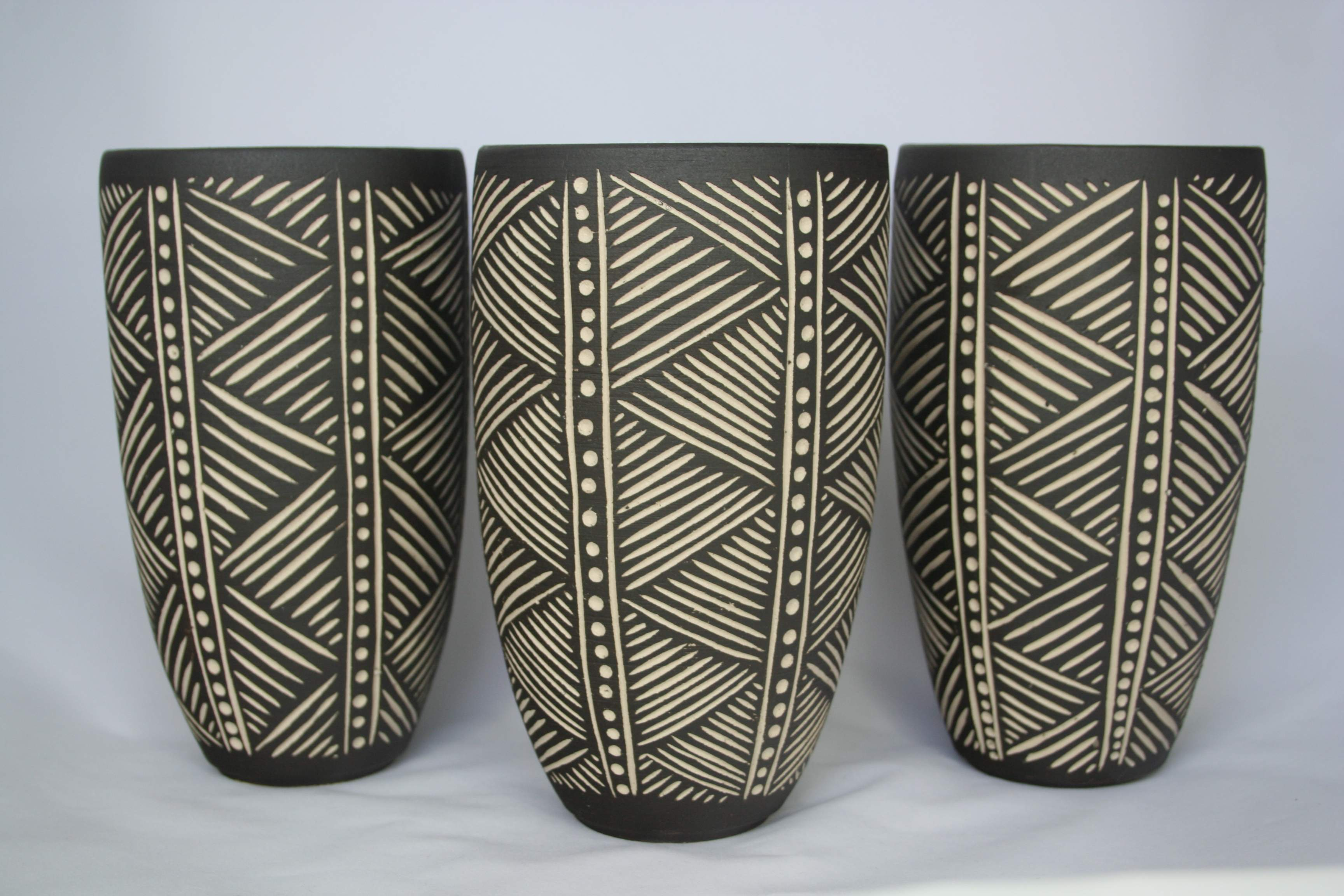 Sgraffito Trio by Demonpotters