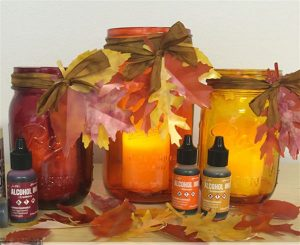 Alcohol inks. Harvest Tablescape by Taylor Huizenga