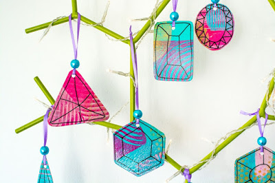 Gelli Printed Holiday Ornaments