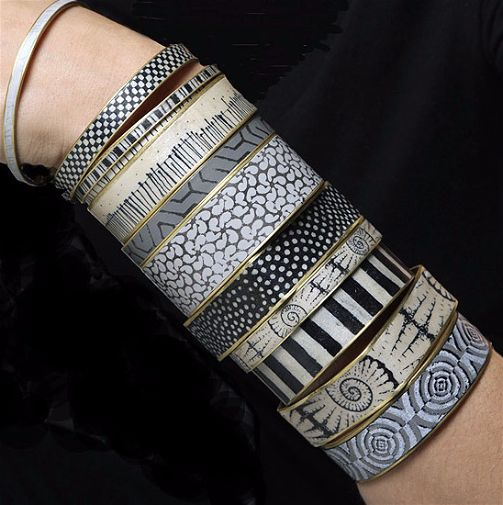Silk Screened Bangles by Louise Fischer Cozzi