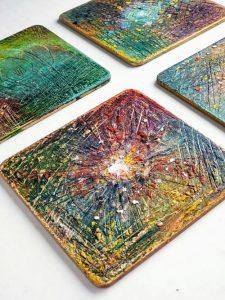 MDF Coaster Blanks embellished using Gilders Paste