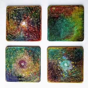 MDF Coaster Blanks embellished using Gilders Paste