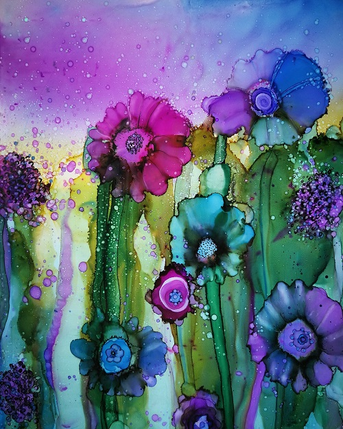 June Corstorphine Alcohol Ink Painting