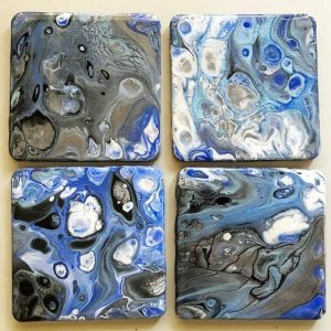Acrylic Pour on our MDF Coaster Blanks