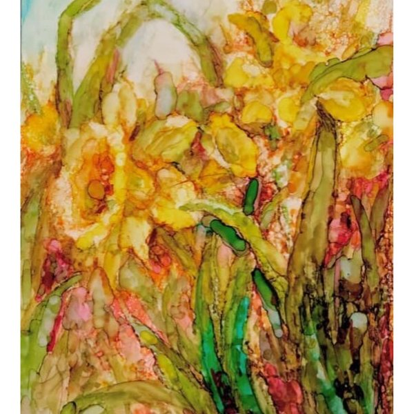 Daffodils by Sharen AK Harris free alcohol ink tutorial