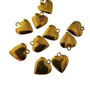 Heart Charms Gold Tone 10 pcs Gold Tone