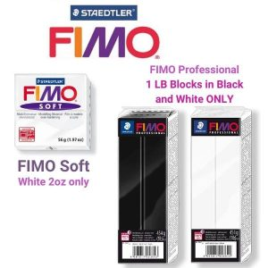 FIMO Pro 1LB Black and White and FIMO Soft 2oz White
