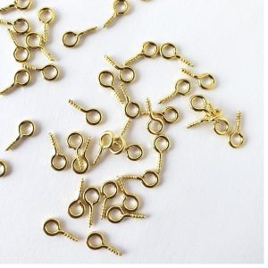 Screw Eyes Gold 1cm 144 pcs