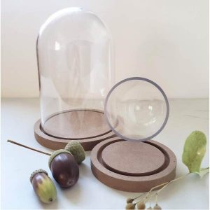 Clear Plastic Dome with Wood Base (Small)